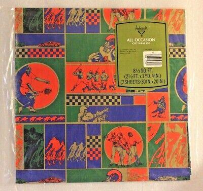 VINTAGE 1980s HALLMARK AMBASSADOR FLAT GIFT WRAP PAPER NOS SPORTS GOLD RED BLUE+