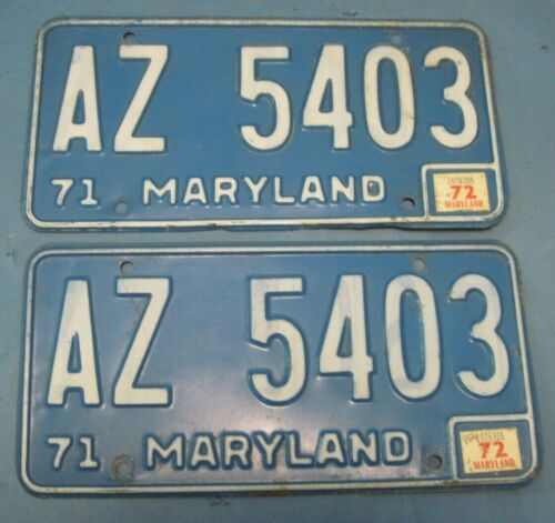 1972 Maryland License Plates matched pair