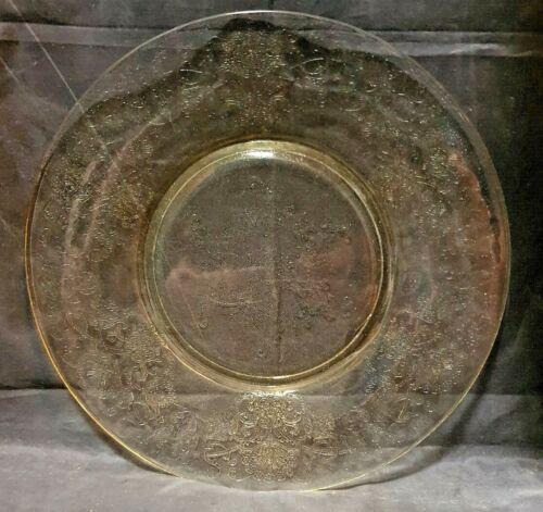 "HAZEL ATLAS YELLOW GLASS FLORENTINE #2 / POPPY DINNER PLATE - 10"" ACROSS"