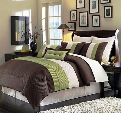 8 Pieces Luxury Stripe Green, Brown, Beige Comforter Bed-in-a-bag Set Full Size