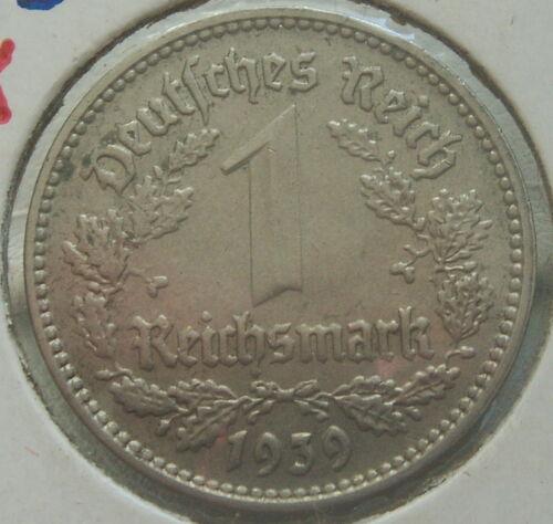 German 1 ReichsMark 1939-F Very Rare Third Reich Nickel Coin WW2 Mark Excellent