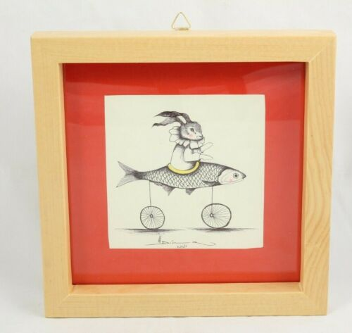 Mexican Acrylic Fine Art Painting Sign Décor Frame Hermes Diaz Rabbit/Fish Bike