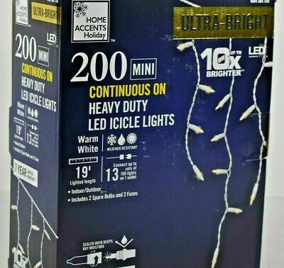 NEW HOME ACCENTS HOLIDAY 200 MINI LED WARM WHITE ICICLE LIGHTS 10X ULTRA BRIGHT