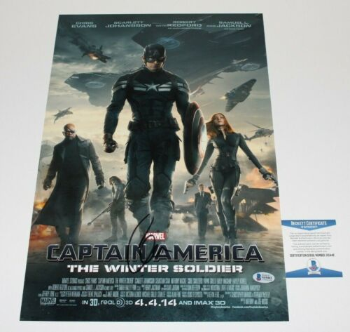 CHRIS EVANS SIGNED 'CAPTAIN AMERICA THE WINTER SOLDIER' MOVIE POSTER BECKETT COA
