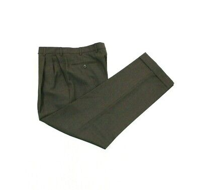 Incotex Mens 100% Super 100s Wool Pleated Pants Trousers Brown Size 32x30