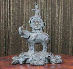 Maitland Smith Elephant and Monkey Mantle Clock Beautiful Patina Working