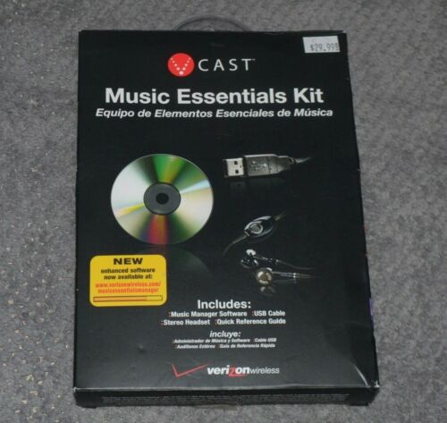 Verizon V Cast Music Essentials Kit~Software, USB Cable, Headset, Reference~NEW