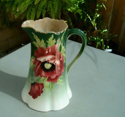 Antique (1887) Societe Ceramique Maesdricht, Made in Holland, floral pitcher