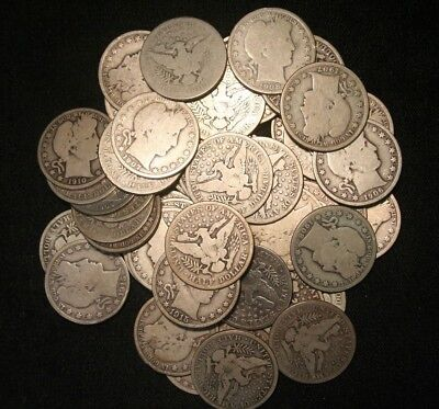Barber Half Dollars , 90% Silver Coin Lot, Circulated, Choose How Many!