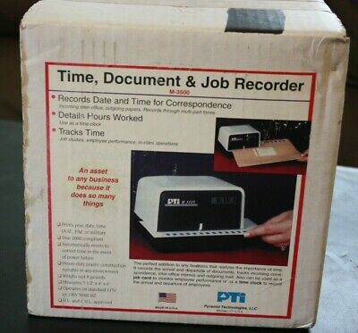 Pti Pyramid M-3500 Time Clock Stamp Recorder With Key New In Box
