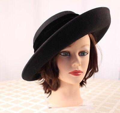 ERIC JAVITS:  Black with Velvet Velour Bow Women Hat