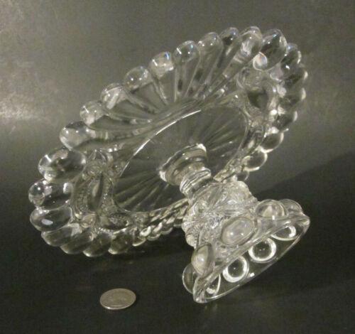 """Antique Victorian DALZELL Glass """"EYEWINKER"""" Pedestal 8.5"""" Cake Stand Plate EAPG"""
