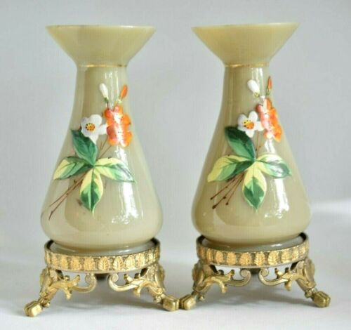 Antique Miniature French Painted Opaline Glass Pair Of Victorian Ormolu Vases