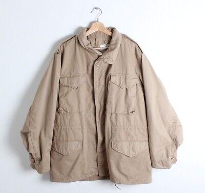Vintage 80s M-65 Khaki Field Jacket Desert Storm Military Uniform Large Regular