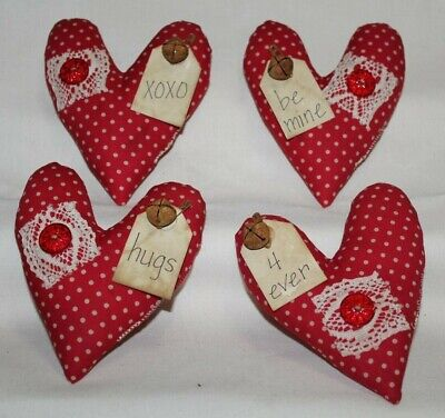 Primitive Country Layered Fabric VALENTINE HEARTS Window Clings Decorations Ornaments Ornies Tucks