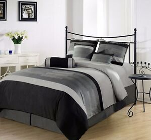 7-Piece-Soft-Microfiber-3-Tone-Embroidered-Duvet-Cover-Set-King-Black-Gray