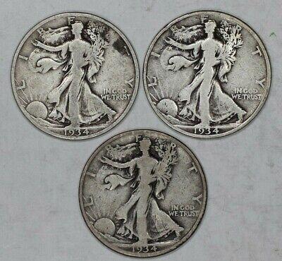1934 P D S LIBERTY WALKING HALF DOLLAR VERY GOOD VG - VERY FINE VF 3 COIN SET