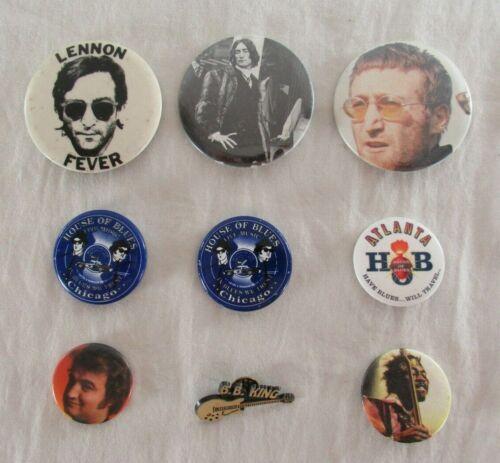 Vintage Mixed Lot of 9 Buttons Music Legends John Lennon Jimi Hendrix B.B. King