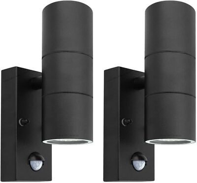2 X Black PIR Stainless Steel Double Outdoor Wall Light with Movement Sensor ZLC