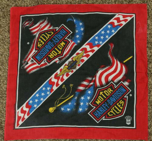Vintage Harley Davidson Bandana Red White & Blue American Flag