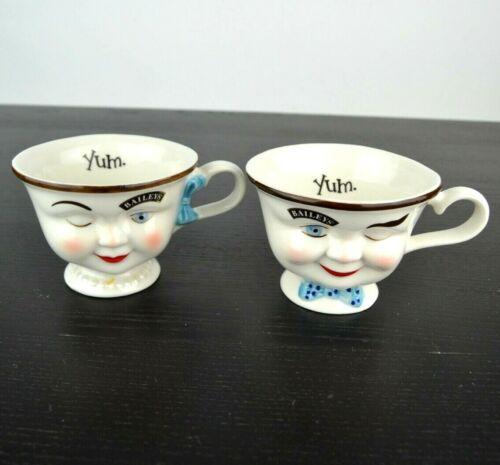 Vintage Bailey's Irish Cream His Hers Yum Winking Face Coffee Mugs Cups Set Of 2