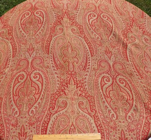 "Antique c1860 Wool Paisley Kashmir Shawl  Fabric~Double Weave~L-65"" X W-60"""