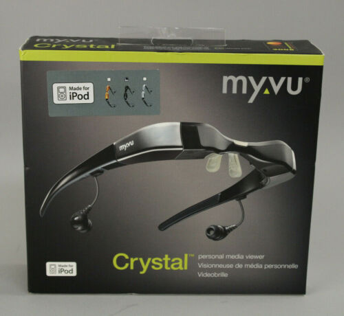 Myvu Crystal Personal Medial Viewer iPod Video Glasses Black Brand New Sealed!