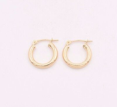 10k Huggie Earrings (2.5mm X 15mm Plain Shiny Small Huggie Hoop Earrings REAL 10K Yellow)