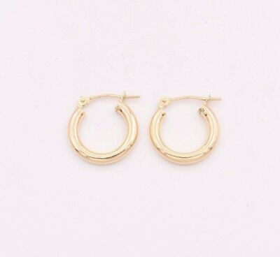 - 2.5mm X 15mm Plain Shiny Small Huggie Hoop Earrings REAL 10K Yellow Gold