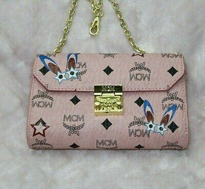 Authentic MCM Patricia Eyed Star Bunny Pink Clutch Bag Cross Body Wallet