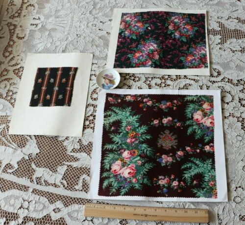 3 French Antique c1860 Wool Challis Fabric Samples~Roses~Quilts