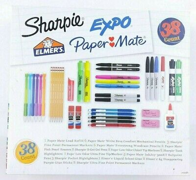 Sharpie Expo Elmers Paper Mate 38 Count School Office Supply Set Kit New