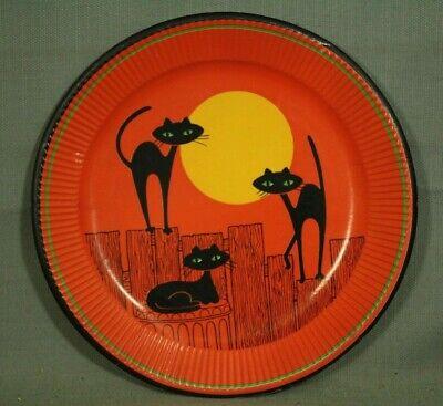 Vintage Halloween Papier Platte Schwarz Cats Vollmond Zaun - Halloween Papier Platten
