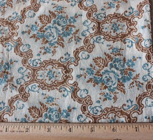 Lovely American Antique Printed Cotton Fabric c1850~Rose Frames~Quilters