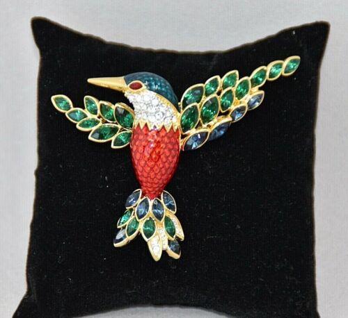 Nolan Miller Gold Tone Jacobin Hummingbird Brooch