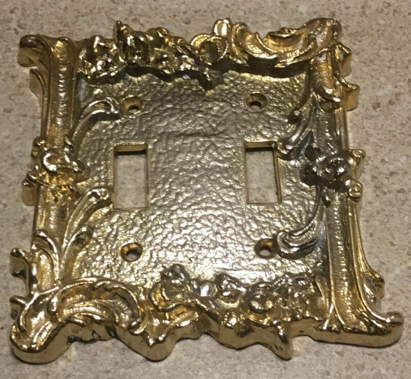 #C200 ~ Vintage Ornate Brass Double Light Switch Plate Antique Goldtone