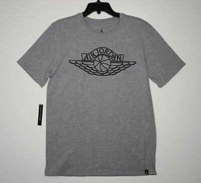 "Nike Air Jordan ""Lifestyle Wings"" T-shirt Gray Black AR2831-091 Men's NEW"