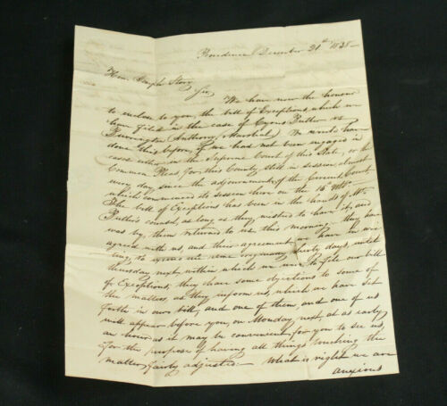 1838 Pearce & Turner Letter to Supreme Court Justice Joseph Story Re:Unique Case