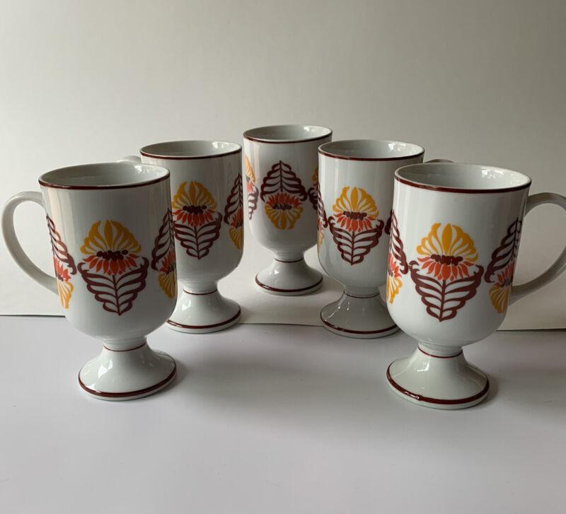 Vintage Holt Howard Footed Mug Set French Marigold Coffee Cups RARE 5 piece Set