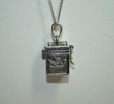 Vintage Sterling Silver Prayer Treasure Box Pendant with 19 Inch Chain Sterling Silver Prayer Box