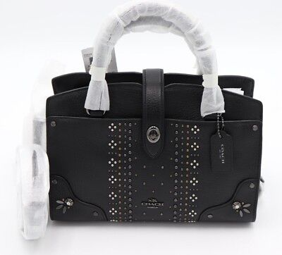 Coach Bandana Rivets Mercer 24 Black Grain Leather Satchel Convertible Bag 55634