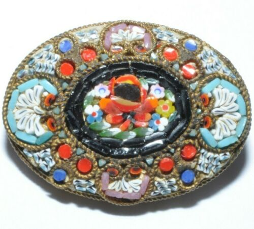 DELIGHTFUL VINTAGE MICRO MOSAIC FLOWER BROOCH SIGNED MADE IN ITALY