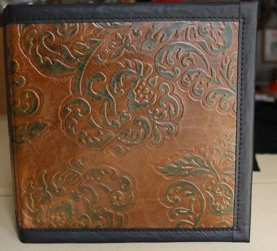 Elegant Chocolate Wgreen Leaves Cowhide Leather 2 3 Ring Binder