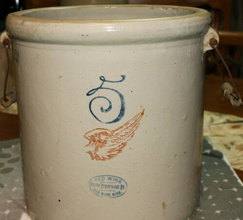 5 GALLON RED WING UNION STONEWARE CROCK PAT 1915 Wooden Handles