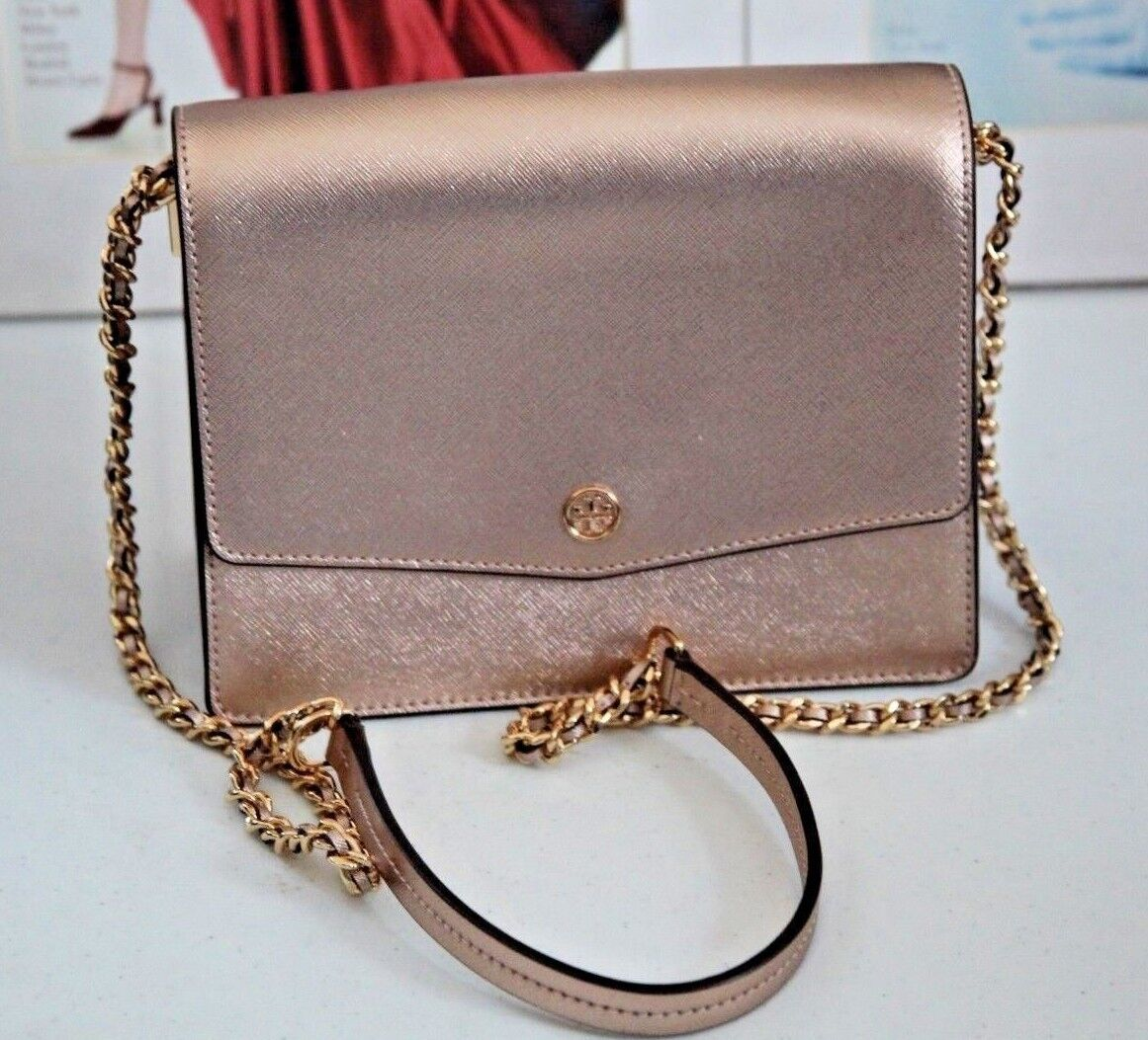 b1a87ff1cb Details about NEW TORY BURCH ROBINSON CONVERTIBLE LIGHT ROSE GOLD LEATHER  CROSSBODY
