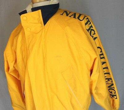 Vintage Nautica Challenge Mens J-Class Sailing Spell Out Hooded Jacket Sz L FLAW