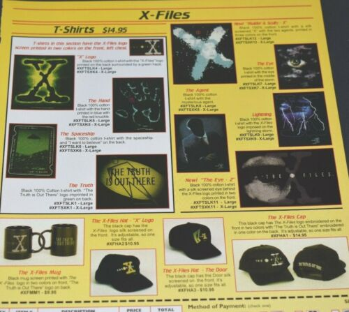 1995 X-Files X Logo Hats T-shirts Souvenirs Mulder Scully Agent Vintage Print Ad