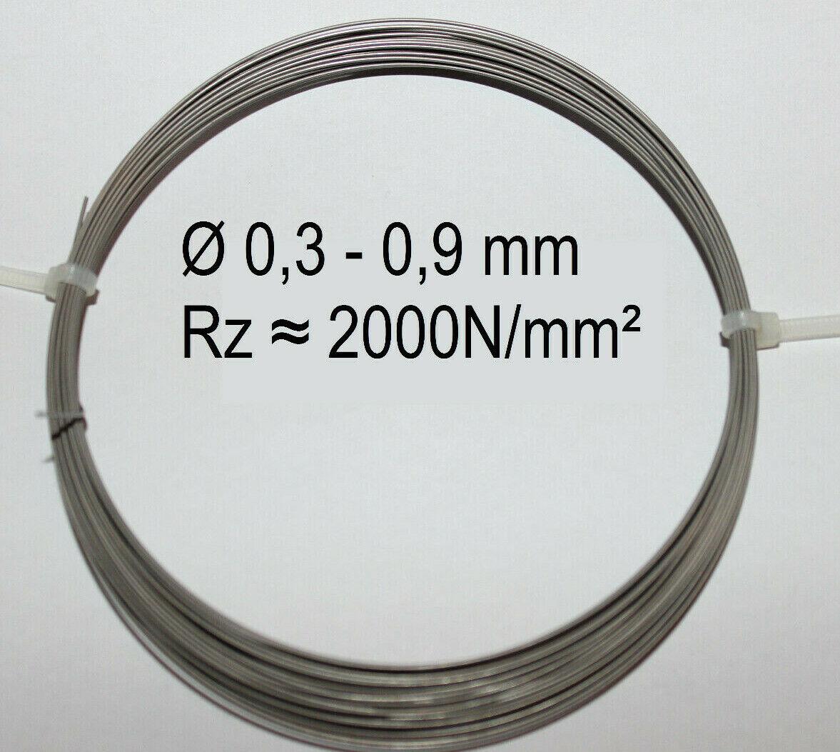 Federstahldraht V2A Edelstahl 0,3-0,9 mm 10-20m Federdraht rostfreier Draht 0,5