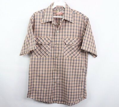 Vintage 70s Our Best Mens Small Short Sleeve Double Pocket Plaid Shirt