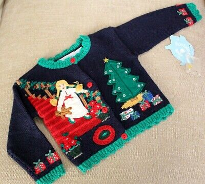 NEW Hartstrings BABY CHRISTMAS SWEATER sz 6-9 Months Girls Holiday Applique NWT